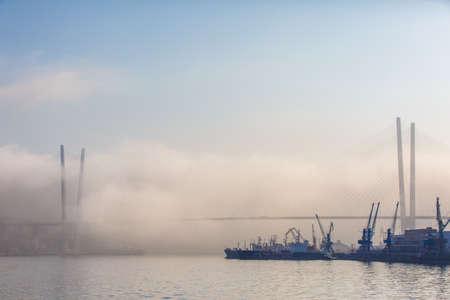 Various merchant ships stand on the roadstead in the Golden Horn Bay in Vladivostok