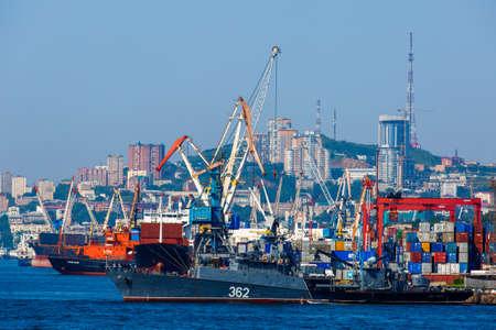 Summer, 2016 - Vladivostok, Russia - Vladivostok Sea Port. Commercial coasters are loading at the commercial port of Vladivostok.
