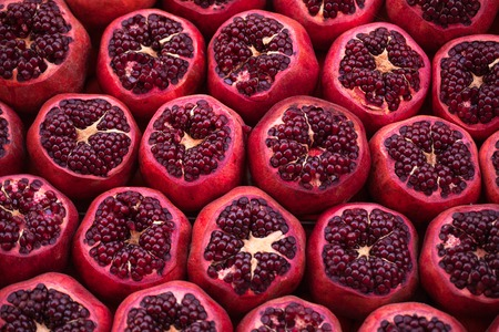 a pomegranate: Cut pomegranates on streets of Istanbul, Turkey Stock Photo
