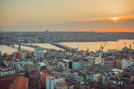 urban travel: Istanbul Sunset Panorama. High Quality Photo