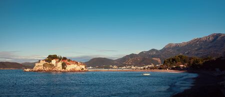 islet: Sveti Stefan, small islet and resort in Montenegro. Balkans Adriatic sea, Europe. Beauty world. Stock Photo