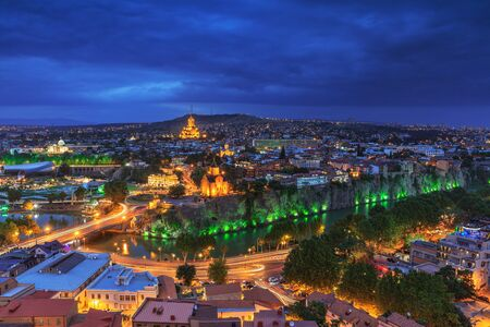 gloaming: Evening view of Tbilisi from Narikala Fortress, Georgia