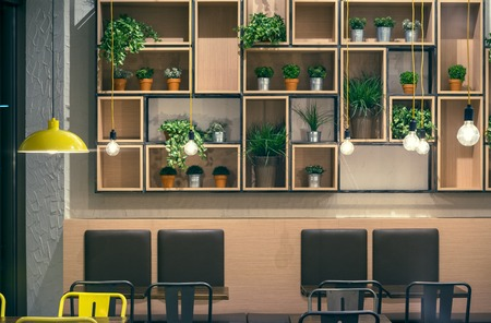 Cafe Interior Wall Design Empty Room Profile Photo
