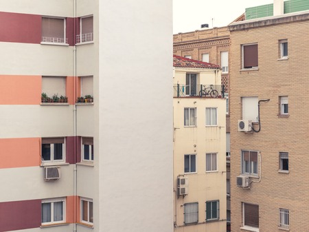 at close quarters: Modern City Living Block Buildings With Windows, No Sky Seen Picture