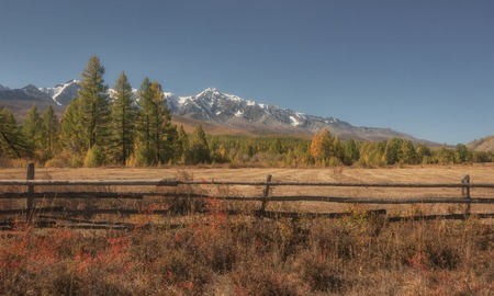 Autumn country landscape with a fence, snowy mountains and forest