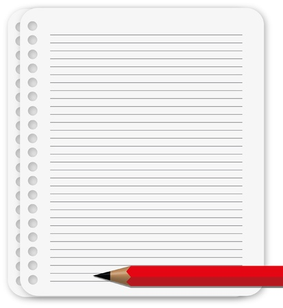 lined: The paper sheet with red pencil.