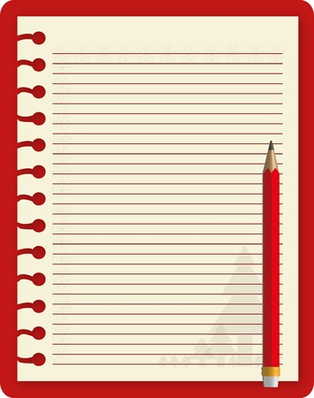 open notebook: Christmas notebook with red pencil. Illustration