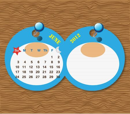 June 2012 Calendar Stock Photo