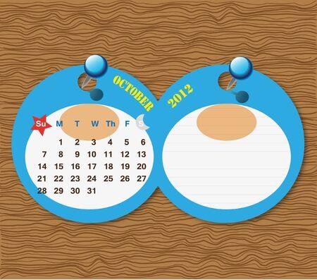 October 2012 Calendar photo
