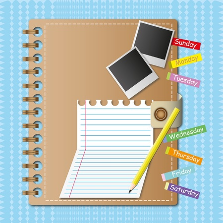notebook paper: Diary and paper sheet with pencil. Stock Photo