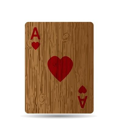Die Herz-Karte auf Holzuntergrund. Standard-Bild - 11570673