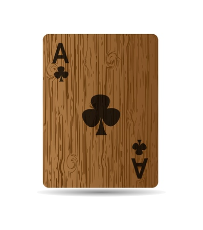 ace of clubs: The card on wooden background. Stock Photo