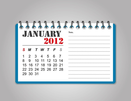 January 2012 calendar Illustration