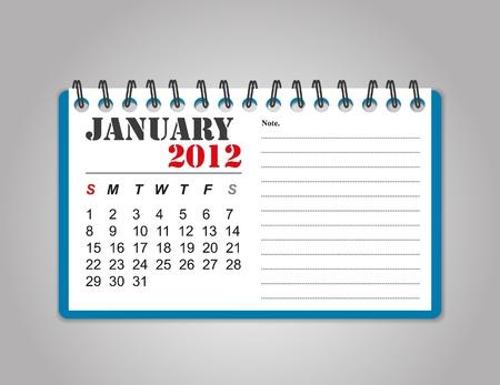 January 2012 calendar Stock Illustratie