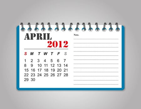 April 2012 calendar Illustration