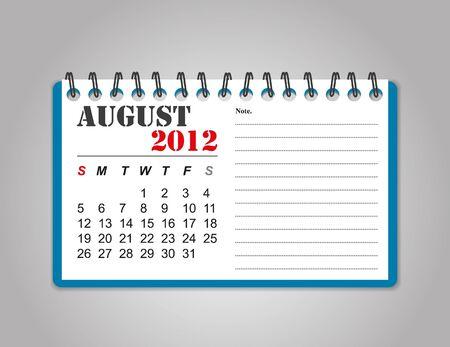 August  2012 calendar Stock Vector - 11570698
