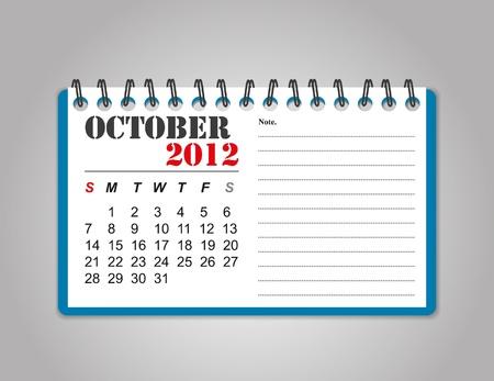October  2012 calendar Stock Illustratie