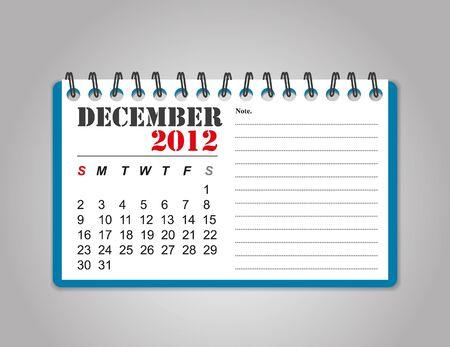 december: December 2012 calendar