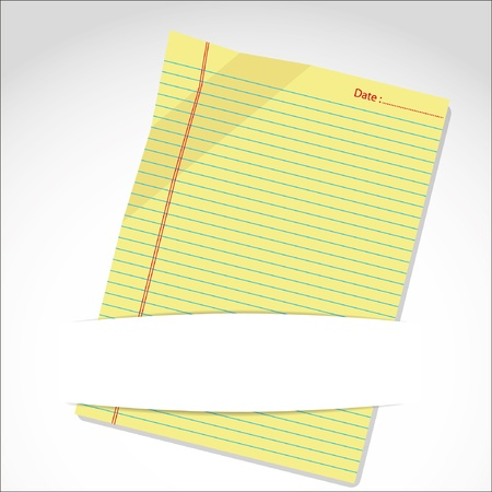 yellow notebook: yellow paper sheet in folder