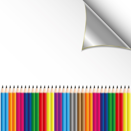 colorful pencil on paper sheet  Vector