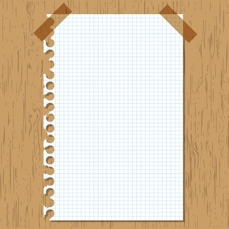 graph paper: Sticky paper graph on wooden board. Illustration