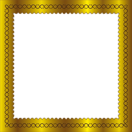 Golden frame in isolated.