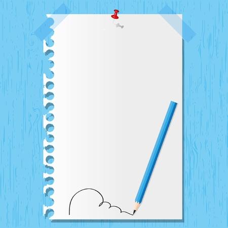 Lápiz y una hoja de papel de línea en los fondos de madera. Foto de archivo - 11659570