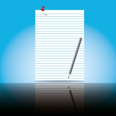 Beautiful paper sheet with pencil and shadow.