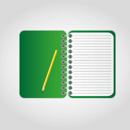 Green notebook with pencil.