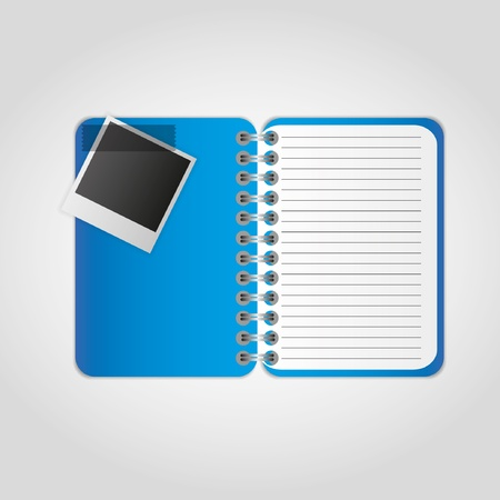 spiral notebook: Photographs with notes on the notebook.