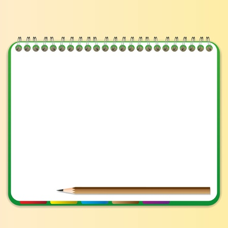 spiral notebook: Pencil and bookmark in green notebook. Illustration
