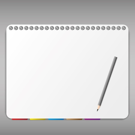 Pencil and bookmark in notebook. Vector