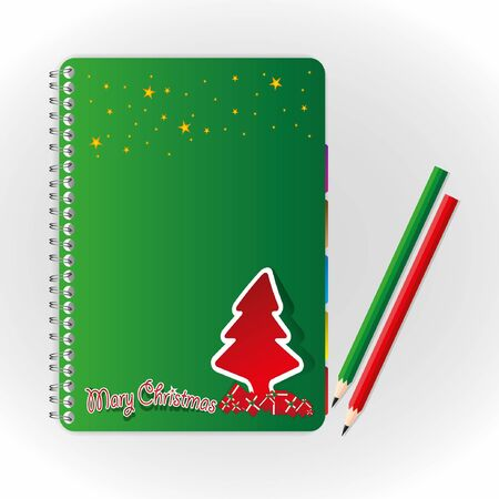 Merry christmas cover  notebook and pencil. Vector