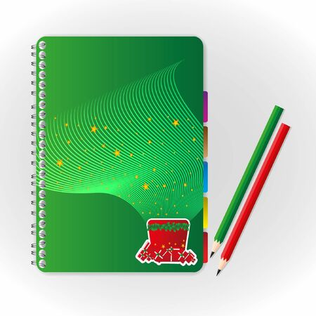 Cute notebook and pencil. Vector