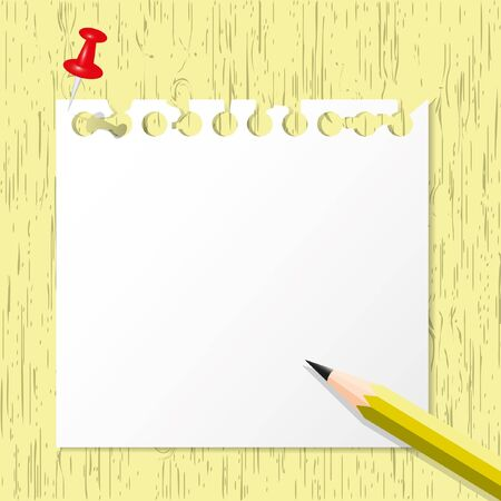 Note memo on wood and pencil Vector