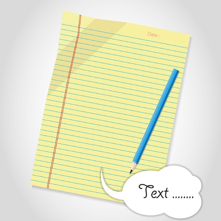 yellow notebook: Blank sheet and pencil Illustration