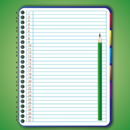 notebook paper background: Blank notebook with pencil