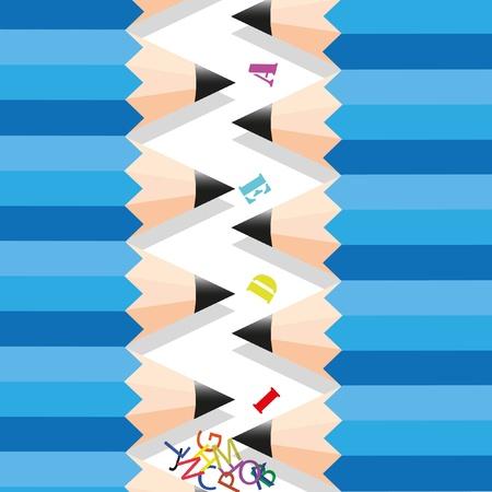 align: Zigzag row pencil. Stock Photo