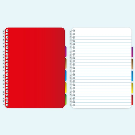 Red cover notebook and blank page.