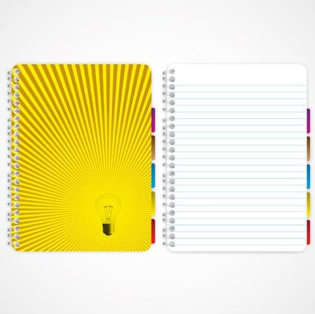 Lamp en verlichting deksel notebook en lege pagina. Stockfoto - 11656681