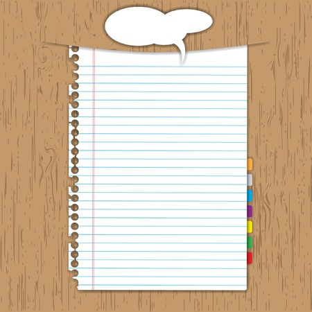 Blank paper sheet and bookmark on wooden background.