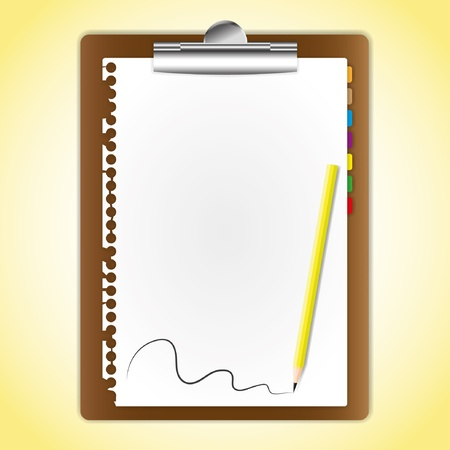 memorize: The document paper sheet on clipboard and pencil.