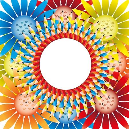 Die schöne Blume aus Kreis und Bleistift Hintergrund bunten Blumen. Standard-Bild - 11651044