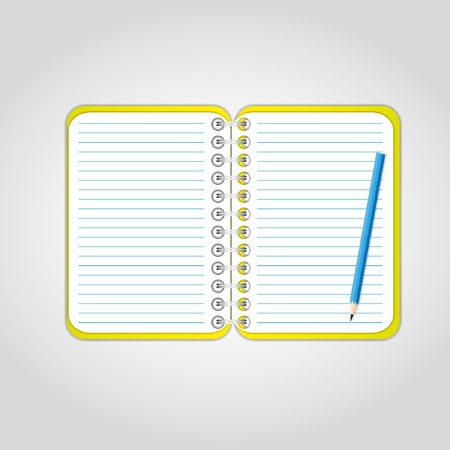 yellow notebook: Pencil on blank page with yellow cover. Illustration