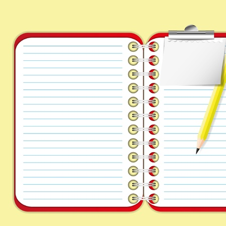 memorize: Pad and paper clip on red notebook.