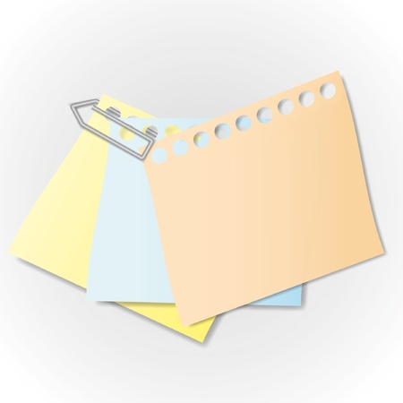 Sticky note and paper clip.