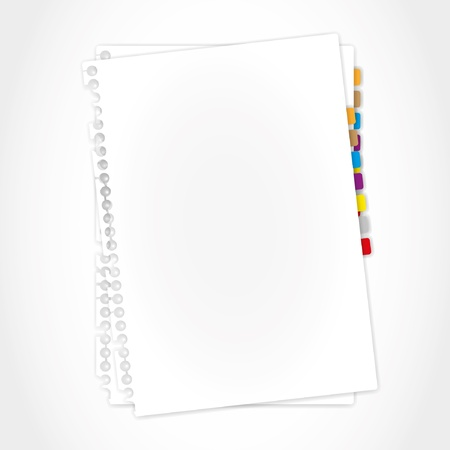 yellow notebook: Blank paper sheet and bookmark. Illustration