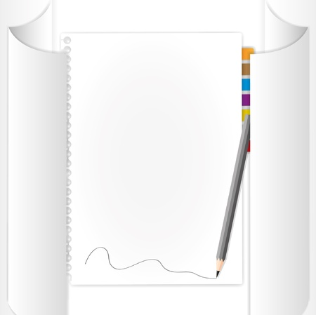 Blank page  in paper roll.  Vector