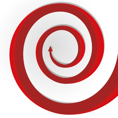 Abstract circular motion red long growth arrow. Illustration
