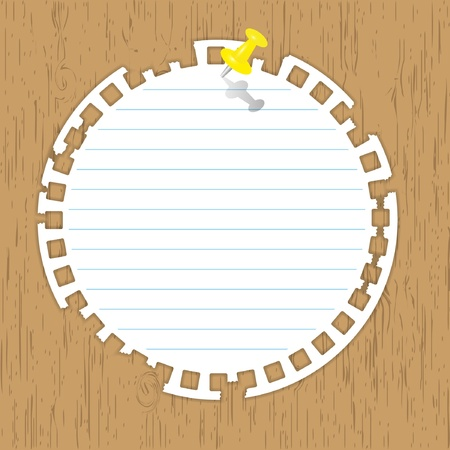 yellow notebook: circle pad with yellow pin on wooden backgrounds.